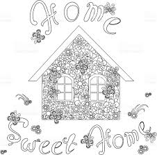 flowers house with lettering home sweet home for coloring page