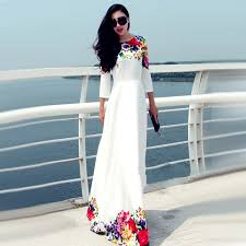 asia fashion wholesale buy neck floral floor length white maxi dress