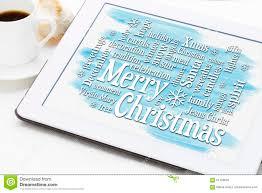 Merry Christmas Greetings Words Merry Christmas Greetings Word Cloud On Tablet Stock Photo Image