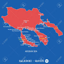 Tos Map Peninsula Of Halkidiki In Greece Red Map Illustration In Colorful