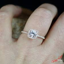light pink engagement rings light pink sapphire cushion halo engagement ring 1ct 6mm 14k