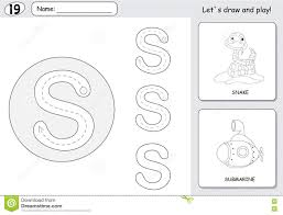 cartoon snake and submarine alphabet tracing worksheet writing