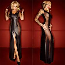 women gothic black leather bodycon party dresses pvc