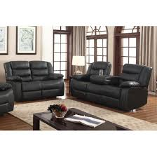 Reclining Sofas And Loveseats Sets Layla 2 Pc Black Faux Leather Living Room Reclining Sofa And