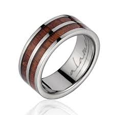 8mm ring phyllis genuine hawaiian koa wood inlaid titanium wedding ring 8mm
