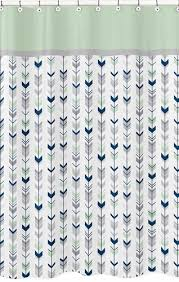 grey navy blue and mint woodland arrow kids bathroom fabric bath