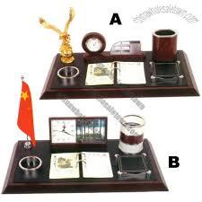 wooden luxury business desk gift set calendar clock pen case tellurion