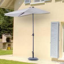 Grey Patio Umbrella by Outsunny 3m Half Round Parasol Patio Umbrella Sunshield Beach