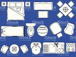 Floor Plan Icons by Simple Furniture Floor Plan Set3 Stock Vector Art 135174564 Istock