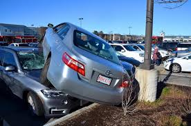 lexus derby street toyota camry goes airborne crash lands on bmw and lincoln