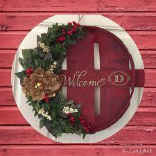 christmas bushel basket lid wreath twan creations pinterest