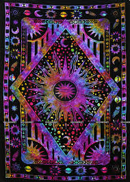indian mandala bohemian tapestry twin sun moon star tie discovered
