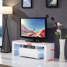 uenjoy 130cm white tv unit tv cabinet tv stand entertainment high