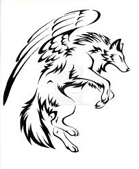 cool wolf drawings with wings