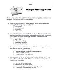 Meaning Words Worksheets Words With More Than One Meaning Worksheets Mediafoxstudio Com