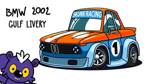wrecked car drawing how to draw bmw 2002 in gulf livery cartoon car drawing youtube