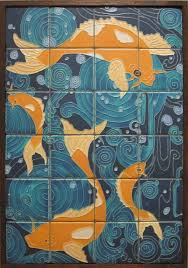 kitchen tile murals backsplash mexican tile murals kitchen outdoor wall motawi koi fish mural