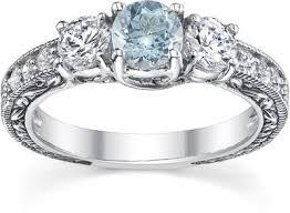 Aquamarine Wedding Rings by Antique Style Three Stone Diamond And Aquamarine Engagement Ring