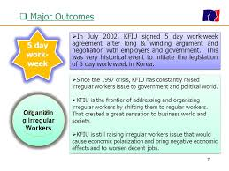 5 day work week kfiu introduction korean financial industry union ppt download