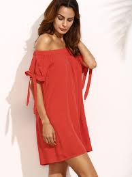 Clothes For 70 Year Olds Red Off The Shoulder Bow Tie Cuff Shift Dress Emmacloth Women Fast