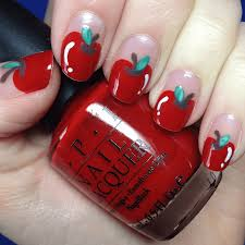 simple apple nail art youtube fimo apple nail art by jaideholly
