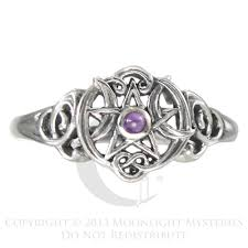 amethyst engagement ring custom by sterling silver heart pentacle pentagram amethyst ring dryad