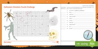 halloween direction puzzle activity sheet geography ks3