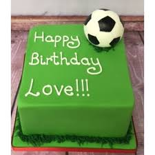 square birthday cake with football
