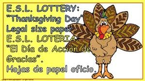 e s l thanksgiving day lottery board in and