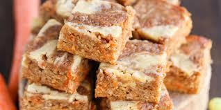 carrot cake blondies with cream cheese swirl u2014delish com