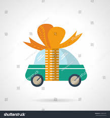 new car gift bow green car orange ribbon bow stock vector 334093799