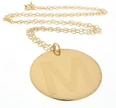 Monogram Disc Necklace Initial Pendant Personalized Gold Necklace Large Letter