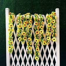 wedding arch gazebo for sale hot sale 2m artificial yellow sunflower garland silk wedding