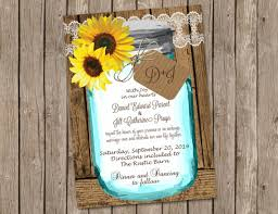 sunflower wedding invitation with shab wood and jar wedding