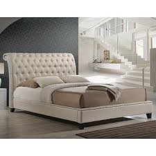 Upholstered Headboard King Baxton Studio Jazmin Tufted Light Beige Modern Bed With