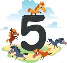 collection number for kids farm animals number 5 horses