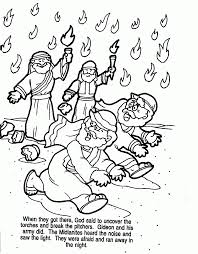 gideon coloring page gideon soldiers with trumpets and torches