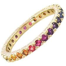 multi color stone bracelet images Multicolor rainbow sapphire pave set eternity ring 14k yellow gold jpg