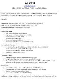Academic Resume Template For College Cover Letter Sample College Resume High Senior Sample