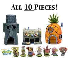 spongebob fish aquarium ornament all 10 pieces character