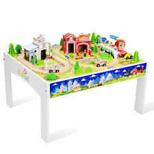 train and track table wooden train set with table 100 pcs train and track table toys for