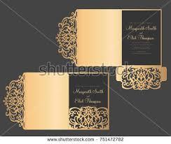 tri fold invitation template laser cut tri fold invitation template stock vector 751472782