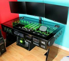 Big Gaming Desk Glass Gaming Computer Desk 1359 Pinterest Within Ideas 1