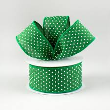 emerald green ribbon 1 5 swiss dots ribbon emerald green white 10 yards rg0165106