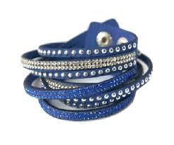 bracelet leather wrap images Royal blue faux leather wrap bracelet rhinestone wrap bracelets jpg