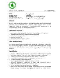 Customer Service Job Duties For Resume by Receptionist Job Description Resume Template Design