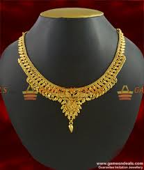 gold flower necklace designs images Nckn280 gold plated guarantee necklace traditional calcutta design jpg