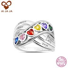 sterling silver mothers rings aijaja personalized 925 sterling silver family heart