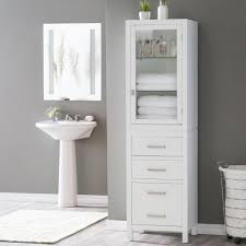 Glass Bathroom Storage Bathroom Modern White Bathroom Storage Tower For Towel With Glass