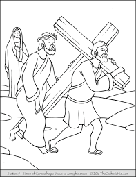 stations of the cross coloring pages 5 simon of cyrene helps